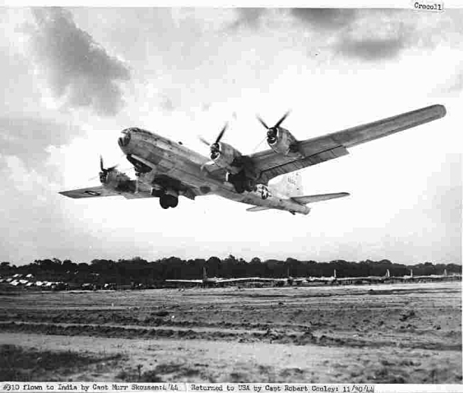 40th BG's B-29 bomber 42-6310 Hump Happy Jr takes off from Chakulia