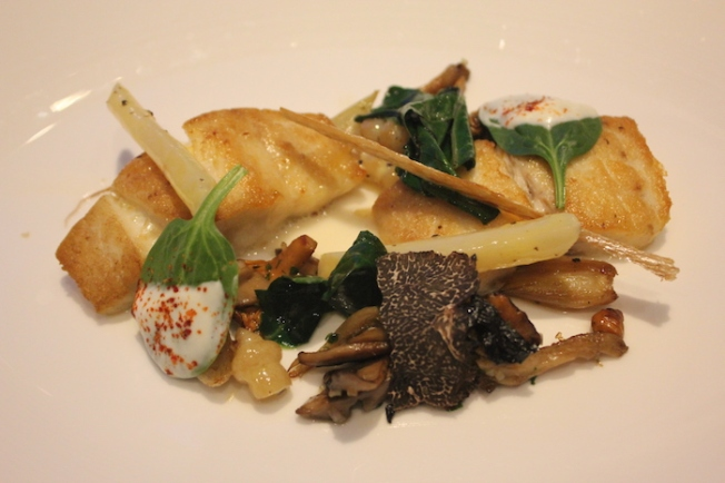 Al Mahara-Line caught sea bass with almond sauce, black truffles and forest mushrooms 2015-12-18 15.52.06-2